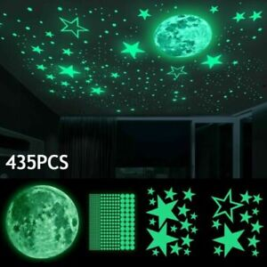 435x Luminous Dots Stars and Full Moon Wall Stickers Decor for Kids Bedroom