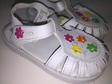 Girls Sandals White with flowers Size 8 New