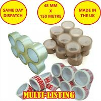 Buff Brown or Clear Packaging Parcel Packing Tape Extra Long 48mm x 150m Fragile