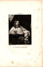 Stampa antica Ritratto SEBASTIEN BOURDON pittore 1812 Old antique print