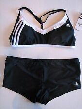 NWT ADIDAS Sporty Bikini Boyshort Swim Bathing Suit Athletic 14