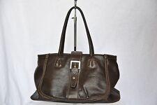 TOD'S TODS Dark Brown Leather BUCKLE TOTE Shoulder Bag Handbag Purse Large