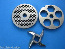 "3-pc #22 Meat Grinder plate disc knife 1/8"" & 3/4"" SET for Weston"