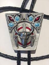 1994 SISKIYOU Buckle Company Co. Pewter Bull Horn Skull Lucite Bolo Tie