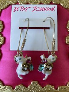 Betsey Johnson Celestial Starlet White Angel Cat Rose Cluster Hook Earrings RARE
