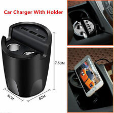 Car 2.4A 3 USB Cup Charger With Mount Holder +2 Cigarette Lighter Port Charger