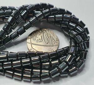 16in 4-5mm x 4mm Hematite Black Tube Beads for Jewellery Making non metallic