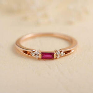 1Ct Baguette Cut Pink Ruby Minimalist Engagement Ring 14k Rose Gold Fn