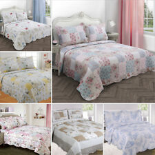 Quilted Bedspread Throw Shams Single Double King Patchwork Pink Red Floral