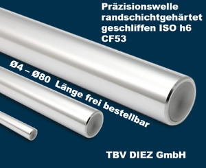 Präzisionswelle CF53 gehärtet geschliffen ISO h6 Stahl Ø4-Ø80mm bis 6m Neuware