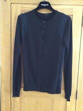Joseph Cashmere Cardigan With Navy Blue Silk Detail - Size S New - Cost £295.00