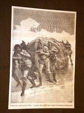 Spedizione al Polo Nord Capitano Markham ed i suoi uomini trascinano le slitte