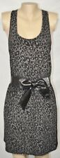 EIGHT SIXTY Black Gray Animal Print Racerback Dress Large Faux Leather Waist Bow