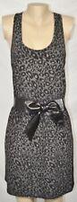EIGHT SIXTY Black Gray Animal Print Racerback Dress Large Faux Leather Waist Bow