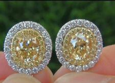 Solid 925 Sterling Silver Yellow Round Halo Studs Earrings Wedding Jewelry Cz Nw
