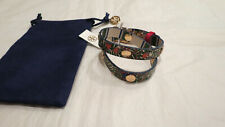 Tory Burch Printed Rev. Double Wrap Logo Stud Bracelet Leather $128 Auth. NWT