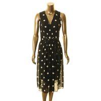 ANNE KLEIN NEW Women's Black Polka Dot V Neck Belted A-Line Dress 10 TEDO