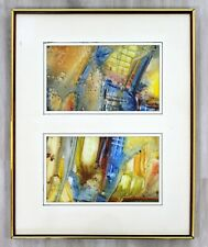 Mid Century Modern Framed Abstract Encaustic Mixed Media Diptych Signed L. Biro