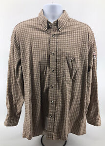Bulwark FR Flame Resistant Button Up Shirt Mens Sz Large Long Sleeve Beige Plaid