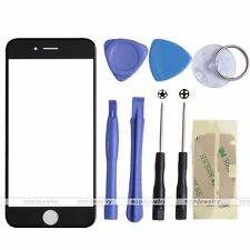 "Black Front Outer Screen Glass Lens Replacement Kit For iPhone 6 4.7"" + 8 Tools"