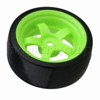 4PCS 5-Spoke Wheel Rims 12mm-Hex & Smooth Tires For RC1: 10 On-Road Drift Car