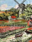 """Vintage Large Wall Tapestry Fringe 69"""" x 28"""" Windmills Tulip Fields Of Holland"""