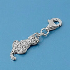 USA Seller Cat Charm For Add On to Bracelet Sterling Silver 925 Best Jewelry