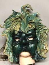 Unique Artisan Leather Mask Green Leaf Fairy Elf Woodland Renaissance Midsummer