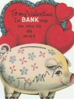 Vintage Valentine Card Piggy Bank and Red Hearts Die-Cut