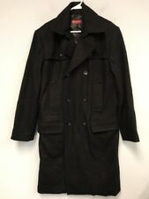 Merona Long Dress Coat Size Medium Black Wool Winter Warm Career