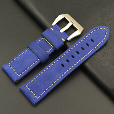 Leather strap in 24mm - Electric blue 24/22mm compatible with Panerai watch