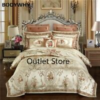 Luxury Wedding Royal Bedding SetCotton Bed Sheet Set Embroidery Jacquard Cover