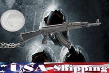 New AK47 Gun Hip Hop Punk Blank Metal Refile Pendant Necklace