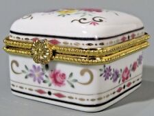 Limoges STYLE porcelain Box w/ Floral Polychrome Decor & Metal Mounts Unmarked