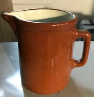Vintage Antique WELLER Pottery Pitcher Brown Exterior White Interior