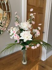 REALISTIC STUNNING LARGE ARTIFICIAL FLORAL HANDTIED BQ PINK ROSES CHERRY BLOSSOM