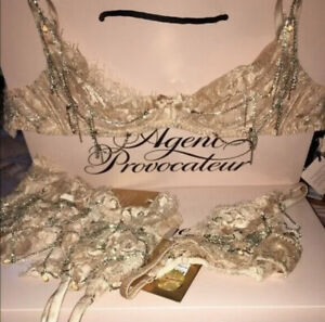 Agent Provocateur Soiree Tiegan Bra 34B, 32c and 32d, And Brief S Bnwt