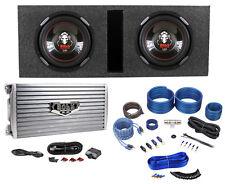 "2 Boss P106DVC 10"" Car Subwoofers+Vented Sub Box+Boss 4000w Amplifier+Amp Kit"