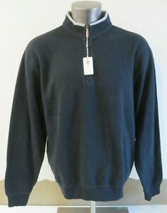 Mens Peter Millar 1/2 Zip Sweater Black Cotton Size L New Style MF11K36
