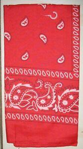 "NEW -  BANDANA - RED & WHITE -  Scarf, Handkerchief,  MAKE A MASK  21"" X  20.5"""