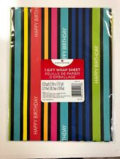 American Greetings Happy Birthday Striped Wrapping Paper Sheets NEW