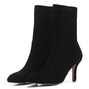 Women Mid-calf Boots Pointed Toe Suede High Heel Elasticity Slip on Winter Shoes