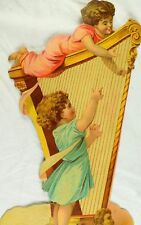 "1883 N. Ballin Die Cut Cherubs Kids Playing Big Harp Victorian 11"" Tall Card &H"