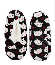 Kitty Cat SLIPPERS Adult M/L 8-10 Black Slipper Socks Super Soft & Stretchy Meow