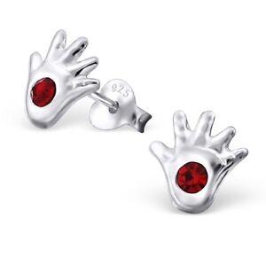 Genuine 925 Sterling Silver Red Hand  Ear Stud Post Earrings + POLISHING CLOTH