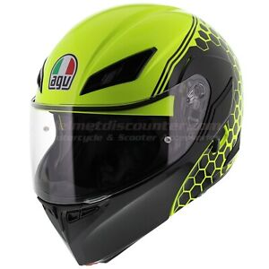 AGV Compact ST Detroit Black White Red / Yellow, Fast 'N Free Shipping - FlipUp.