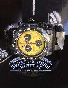 CX SWISS MILITARY Seawolf SW1 Men's Yellow Diver Chrono Quartz Watch 1000M Ø44MM