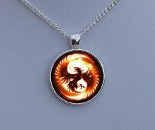 Silver Phoenix Necklace - Glass Pendant - Fantasy Fire Bird Art Jewellery Gift