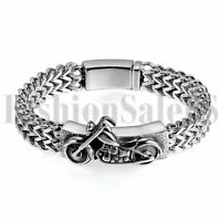 Gothic Punk Heavy Stainless Steel Bracelet Men's Motor Biker Magnetic Clasp Cuff