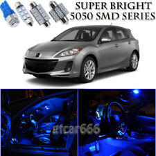 For Mazda 3 2010-2016 Blue LED Interior Light Kit + White LED License Light 10PC